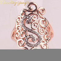 DAZZLING YANG'S Brand Cheap Sale Charming Women's Party Hollow Out Jewelry Crystal Rose Gold Plated Rings Size 7.5 8.5