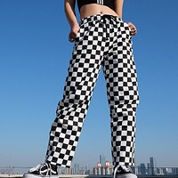 fhotwinter19 women's trousers explosion models black and white plaid check color was thin casual temperament wide leg pants
