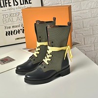lv louis vuitton trending womens black leather side zip lace up ankle boots shoes high boots 247