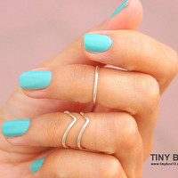 3 Chevron Above  Knuckle Ring -  Knuckle Rings - Silver  Midi Rings - Set of 3 Stacking Rings