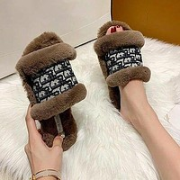 Dior hot new product plush embroidery letters ladies slippers sandals Shoes-2