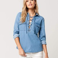 FULL TILT Lace Up Denim Womens Shirt | Shirts + Flannels
