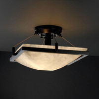 Justice Design Group CLD978025MBLK Clouds Ring 14-InchTwo-Light Matte Black Square Semi-Flush Bowl With Ring