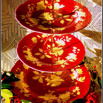 Exclusive Wedgwood bone china three tier handmade cakestand stunning red with ivory floral pattern made with rare & exquisite plates c.1960s
