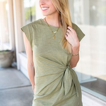Olive Knot Front Casual Dress