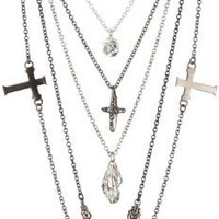 """CHRISHABANA """"Five-In-One Funeral"""" Silver Gunmetal Plated Brass Necklace"""
