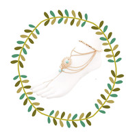 Delicate Boho Turquoise Foot Chain, Beach Wedding Barefoot Sandals