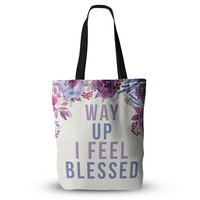 Way Up I Feel Blessed Drake Hip Hop Quote Floral Fiancee Wedding Bride Future Mrs Wife Fashion Gift Tote Bag 18x18