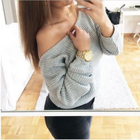 One Off Shoulder Long Sleeve Knitted Sweatshirt