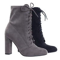 Soba Block Heel Combat Boots, Lace Up Ankle Bootie