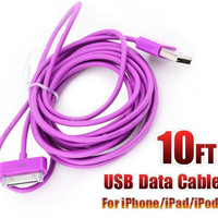 10FT USB Data Sync Charging Charger Cord Cable For iPhone4 4S iPod iPad2--Purple