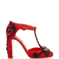 Red Jacquard T-Strap Pumps