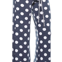 Casual Polka Dot Pants - Navy