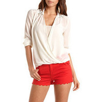 Studded Collar Surplice Top: Charlotte Russe