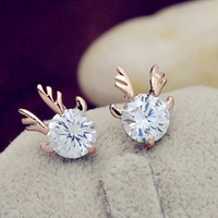 Rose Gold filled reindeer head / antler earrings, stud earrings
