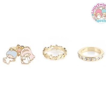 Little Twin Stars 3-Pce Ring Set: 40th Anniversary Collection - Size 6.5