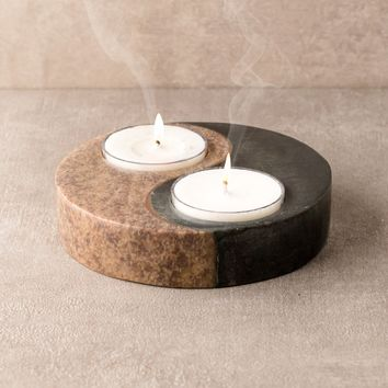 Yin & Yang Stone Candle Holder