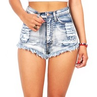 Trinity High Waist Shorts - High Waist Denim Shorts at Pinkice.com