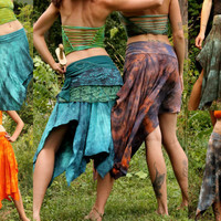 CUSTOM Bamboo pixie skirt asymmetric woodland fairy tie dye psy wear maternity S, M, L