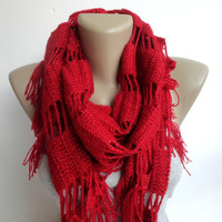 red crocheted scarf ,scarves ,red shawl ,neckwarmer ,cowl neck ,Bridal shawl , gift ideas