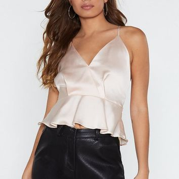 Peplum in Your Step Satin Cami Top