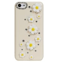Fosmon GEM-SUN Daisy Flowers & Rhinestone 3D Design Bling Hard Case for the Apple iPhone 5C - Retail Packaging (Ivory)