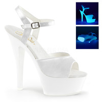 "Kiss 209UV Ankle Strap Upper 6"" Platform Heel Shoe UV White"