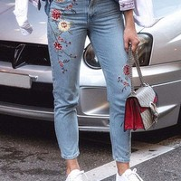 Floral Embroidered Mom Jeans - Jeans - Clothing-1