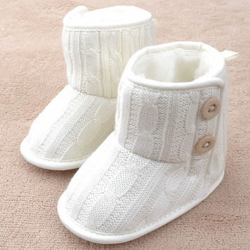 Button New Beauty Cute Toddler Booties Soft Sole Baby Boots Crib Warm Infant Shoes = 1946817412