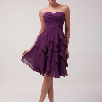 Purple Strapless Layered Ruffled Homecoming Dress