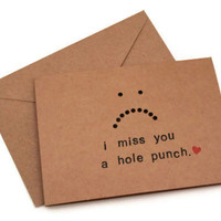 I Miss You Card. I Miss You A Hole Punch. White, Black, Red. Handmade Card.