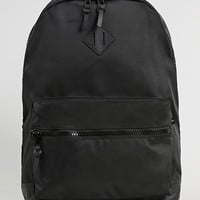 Black Textured Nylon Backpack - Topman