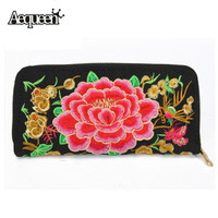 Women National Wallets Long Purse Retro Embroidered Big Peony Flower Vintage Phone Change Bags Zipper Day Clutch All-match
