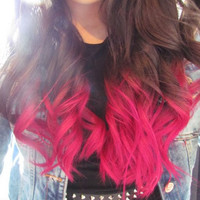 FULL HEAD // hot pink dip dye // ombre hair // clip in extensions // (10pcs)