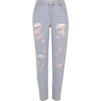 Blue denim pink tint ripped boyfriend jeans - Jeans - Sale - women