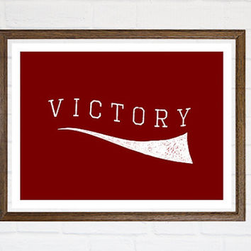 Red Victory Fine Art Poster Print Retro Vintage Style School Typography Print Home Decor Wall Art Red and White Wall Decor