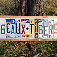 GEAUX TIGERS Custom Recycled License Plate Art Sign Ooak
