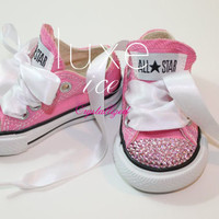 Converse Chucks low tops w Swarovski Crystals Pink & Pink Crystals Size 2-10 infant