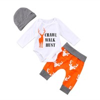 Newborn Baby Boys Girls Christmas Clothes Tops Romper Pants Hat Xmas Elk Outfits  christmas Infant Baby Girl Newborn Romper 3pcs