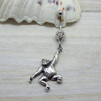 Antique silver orangutan belly button ring , jungle animal  navel piercing, friendship belly button ring, unique gift