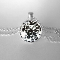 Floral Black White Pattern Pretty Necklace Everyday Use Gift For Her