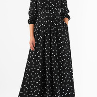 Star print crepe pleated maxi dress