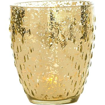 Vintage Mercury Glass Candle Holder (5.25-Inch, Large Deborah Design, Gold) - For Home Decor, Party Decorations, and Wedding Centerpieces