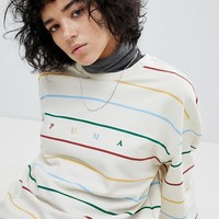 Puma Exclusive To ASOS Long Sleeve Striped Dream Sweatshirt In White at asos.com