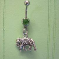Belly Button Ring - Body Jewelry - Silver Elephant with Green Gem Stone Belly Button Ring