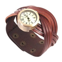 MagicPieces Handmade Leather Belt Braided Bracelet Watch for Women in 3 Colors (brown)