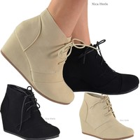 Women's Ankle Boots Wedge Heel Lace Up Booties Black or Beige Size 5-10 New