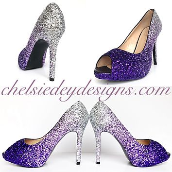 Purple Peep Toe Glitter Pumps, Violet Lilac Silver Ombre Wedding High Heels