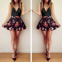 2015 NEW  spring summer low-cut V-neck cute women dress sleeveless floral print mini dress casual dress = 1753444740