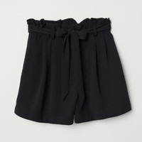Shorts with Tie Belt - Black - Ladies | H&M US
